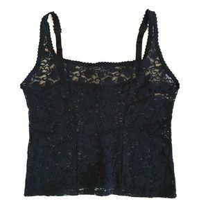 Vintage Navy Blue Nylon Lace Cropped Tank Top Cami